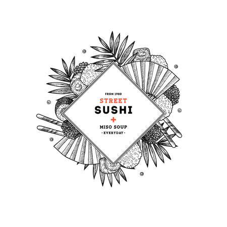 Sushi restaurant menu round composition. Asian food background. Vector illustration