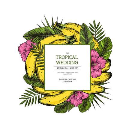 Tropical wedding invitation. Jungle composition. Vector illustration