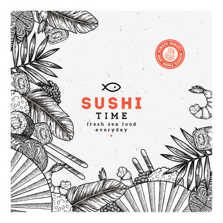 Sushi restaurant design template. Asian food background. Vector illustration Çizim