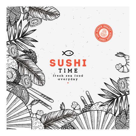 Sushi restaurant design template. Asian food background. Vector illustration Stock Illustratie