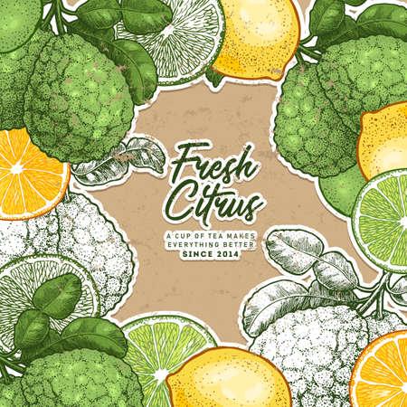Fresh citrus design template. Engraved style illustration. Organic fruit frame. Vector illustration Vettoriali