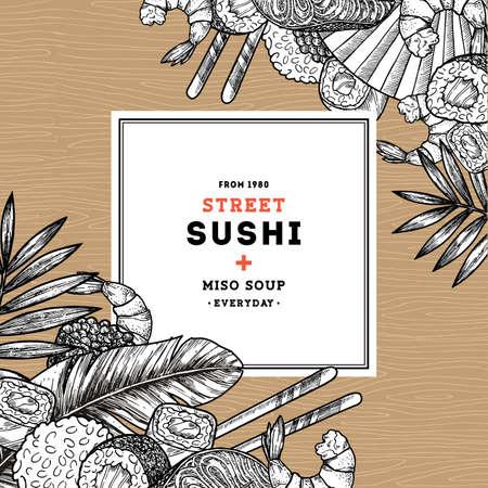 寿司カフェメニューデザインテンプレート。アジアの食べ物の背景。ベクトル図