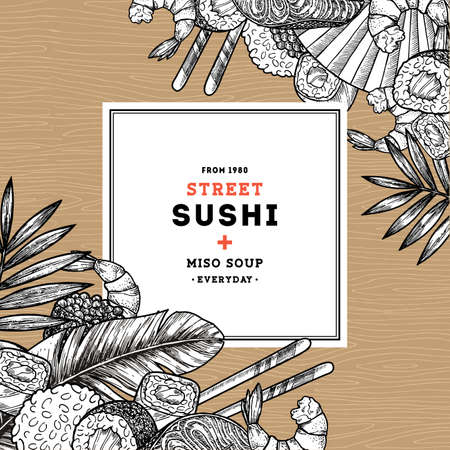 Sushi cafe menu design template. Asian food background. Vector illustration Illusztráció