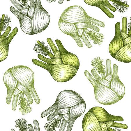 Fennel bulb seamless pattern. Botanical Fennel background. Vector illustration Иллюстрация