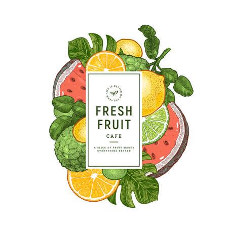 新鮮なフルーツのデザインテンプレート。レモン、ワテメロン、オレンジ、ベルガモット、モンステラリーフ。ベクトルのイラスト