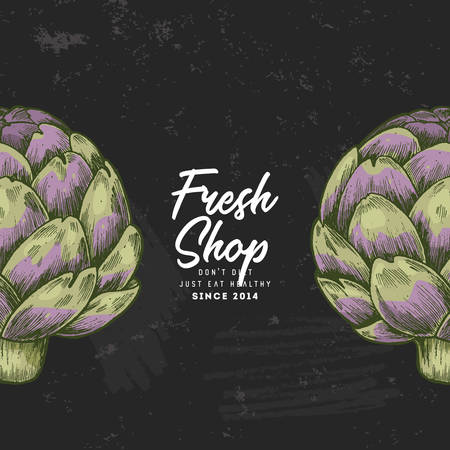 Chalkboard artichoke design template. Organic vegetables. Vector illustration