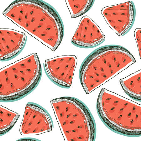Vintage watermelon slices seamless pattern. Pop art style of Watermelon background Vector illustration  イラスト・ベクター素材