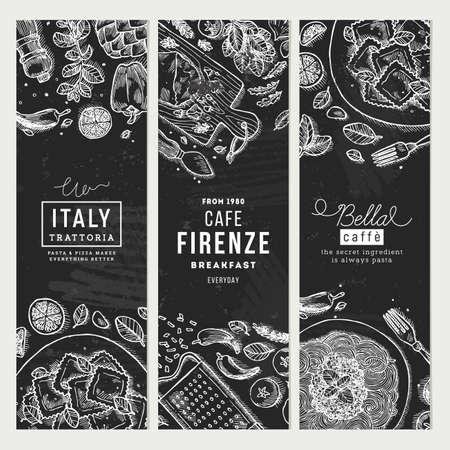Italian food banner collection Vector illustration 일러스트
