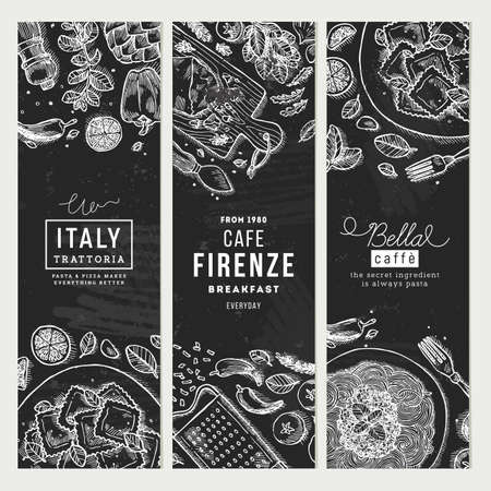 Italian food banner collection Vector illustration Illustration