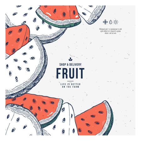 Fresh watermelon design template.