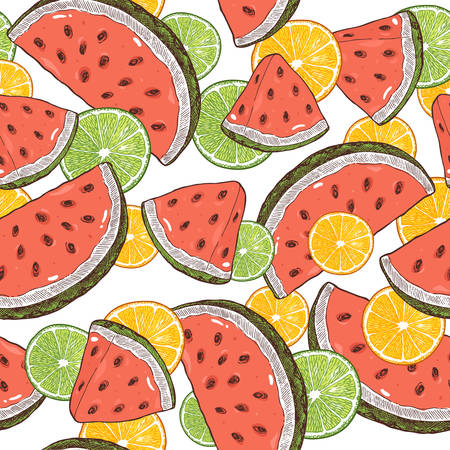 Watermelon and lemons slices seamless pattern. Watermelon background.