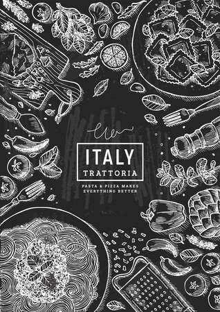 Italian trattoria top view illustration. Spagetti and ravioli table background. Engraved style illustration. Hero image. Vector illustration