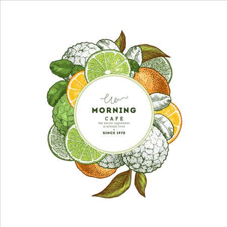 Fresh citrus design round template. Engraved style illustration. Organic fruits. Vector illustration