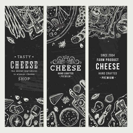 heese banner collection. Antipasto table background. Engraved style illustration. Hero image. Vector illustration
