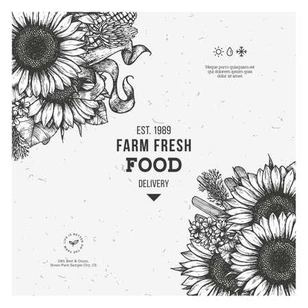 Sunflower vintage design template. Sunflower frame composition. Vector illustration