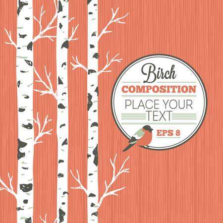 Birken- und Vogelentwurfsschablone. Frühlingswaldhintergrund. Vektorillustration