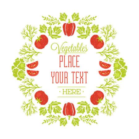 Healthy Vegetables Composition. Hand drawn food frame. Vector illustration.
