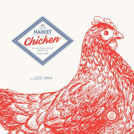 Chicken market design template. Engraved Chicken.