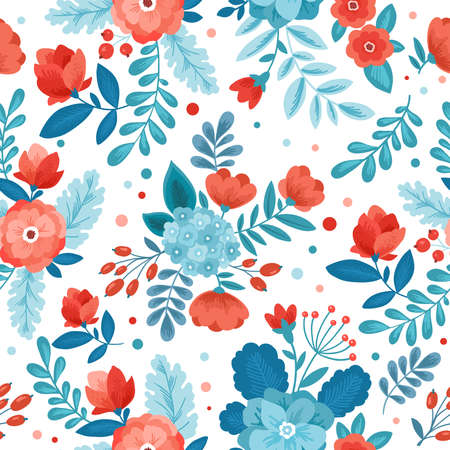 Fun Flowers seamless pattern. Floral background. Stock Photo