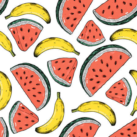 Watermelon and bananas seamless pattern. Summer background. Vector illustration  イラスト・ベクター素材