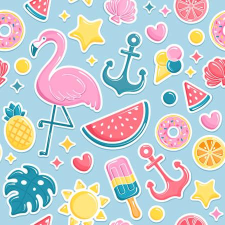 Summer beach elements seamless pattern.  Flamingo, ice cream, watermelon, sun, monstera, pineapple. Vector illustration