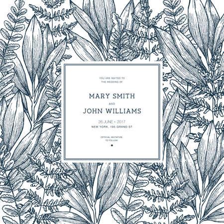 Wild leaves and wedding invitation. Vintage floral background. Vector illustration