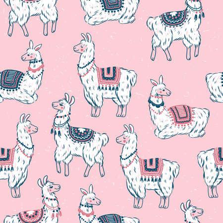 Cute llamas seamless pattern. Alpaca kid illustration. Summer style graphic. Vector illustration