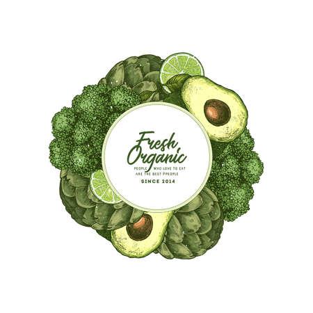 Healthy organic food design template. Fresh green vegetables engraved illustration. Vector illustration