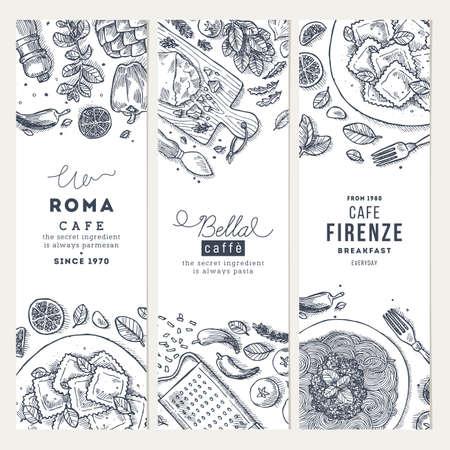 Italiaans eten verticale banner set. Spagetti en ravioli. Gegraveerde stijl illustratie. Hero afbeelding. Vector illustratie