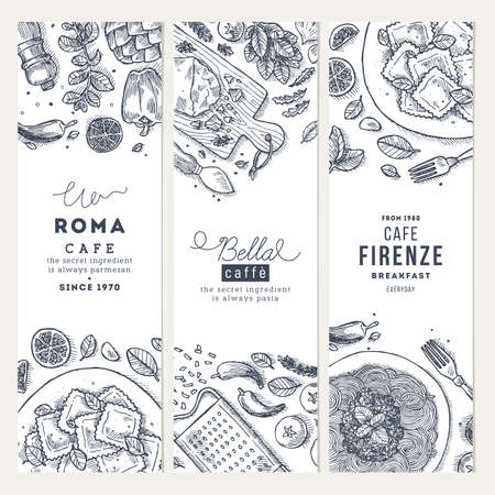 Italian food vertical banner set. Spagetti and ravioli. Engraved style illustration. Hero image. Vector illustration 矢量图像