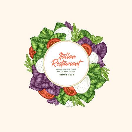 Tasty basil and mozarella design template. Engraved illustration. Italian ingredients. Caprese ingredients. Vector illustration
