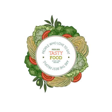 Healthy organic vegetables design template. Broccoli, artichoke, tomato, olive. Vector illustration.