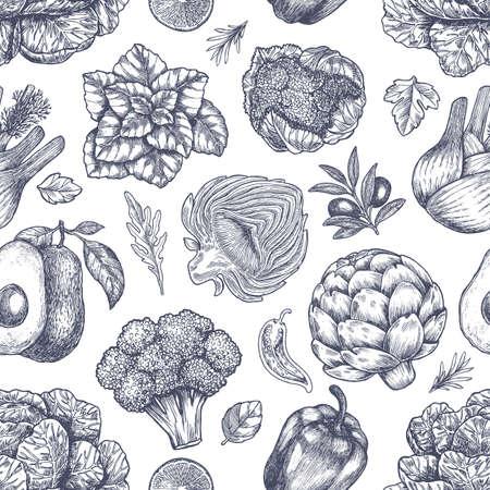 Vegetables seamless pattern. Handsketched vintage vegetables. Line art illustration. Vector illustration