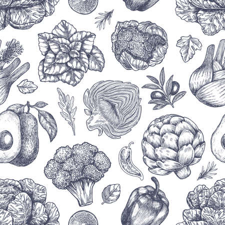 Vegetables seamless pattern. Handsketched vintage vegetables. Line art illustration. Vector illustration