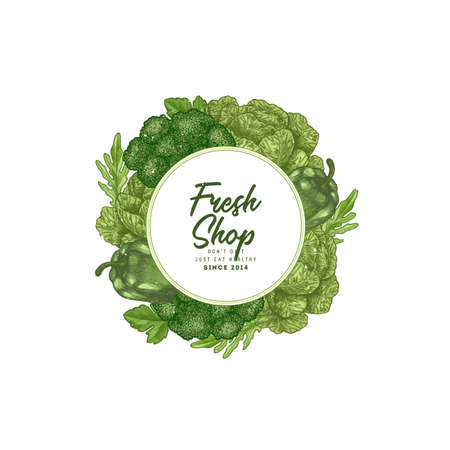 Green vegetables round composition. Fresh green vegetables engraved illustration. Vector illustration