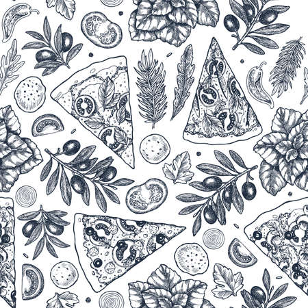 Street food background. Linear graphic. Snack collection. Junk food. Engraved seamless pattern. Vector illustration