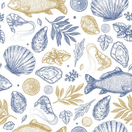 Seafood seamless pattern.  Fish, seashell, leaf, shrimp. Engraved vintage sea set. Vector illustration