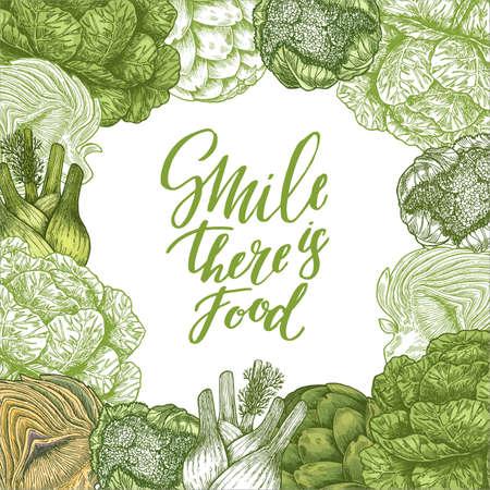 Healthy food design template. Green food illustration. Linear graphic. Vector illustration Ilustrace