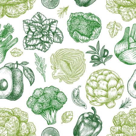 Patrón sin fisuras de verduras verdes. Verduras vintage bosquejadas a mano. Ilustración de arte lineal. Ilustración vectorial Ilustración de vector