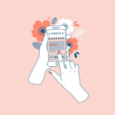 Main de femme tenant le smartphone avec calendrier du cycle menstruel. Téléphone floral en mains. Illustration vectorielle