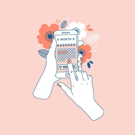 Woman hand holding smartphone with menstruation cycle calendar. Floral phone in hands. Vector illustration