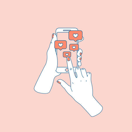 Social media like. Woman hand with smartphone. Following notification. Vector illustration Banque d'images - 105919926