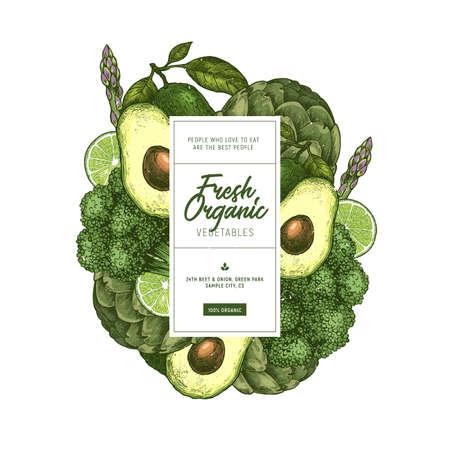 Ontwerpsjabloon voor groene groenten. Vers voedsel gegraveerde afbeelding. Vector illustratie