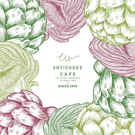 Summer artichoke frame design template. Botanical style illustration. Vector illustration
