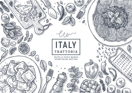 Italian food top view illustration. Spagetti and ravioli table background. Engraved style illustration. Hero image. Vector illustration Ilustracja