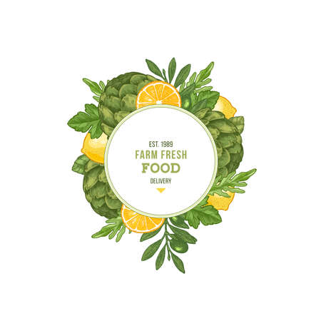 Summer fresh vegetables round design template. Engraved  illustration. Vector illustration