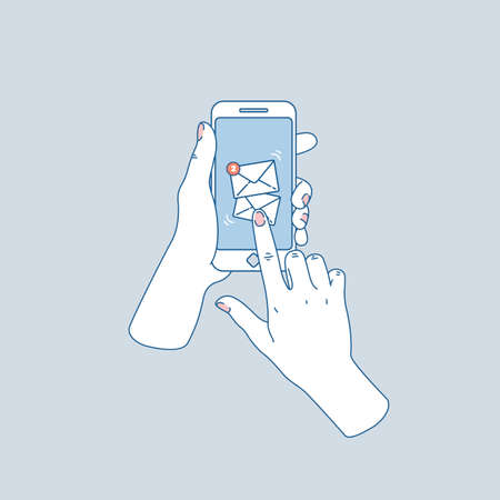 Woman hand holding smartphone. New messages. Social media notifications. Vector illustration Banque d'images - 106073440