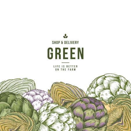 Artichoke organic market design template. Organic vegetables. Vector illustration