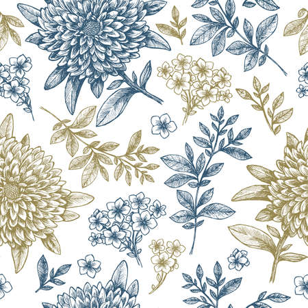 Floral seamless pattern. Linear sketchy style flower elements.