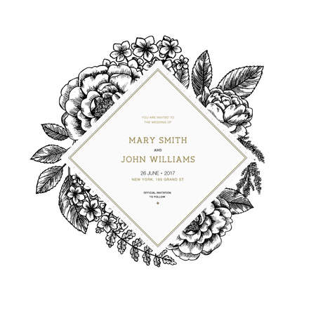 Floral wedding invitation. Vintage engraved flowers greeting card. Vector illustration Stockfoto - 106133809